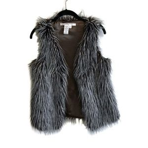 Max Studio faux fur grey and brown vest small